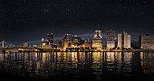 Stary night sky over Pittsburgh Pennsylvania
