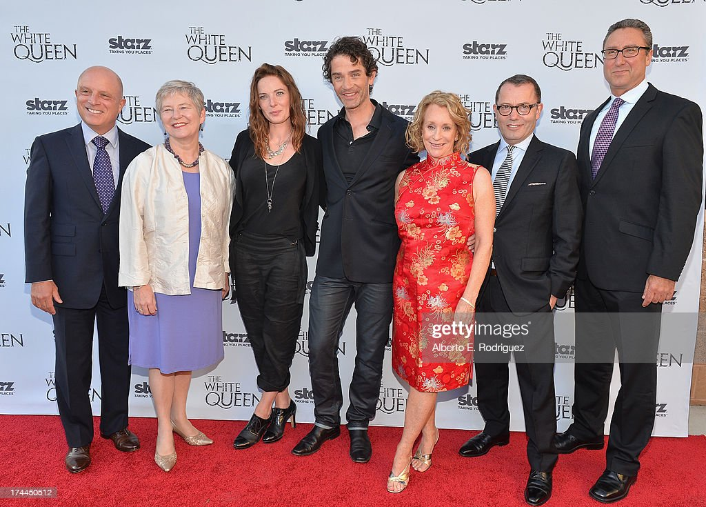 Starz CEO Chris Albercht, British Consul-General in Los Angeles Barbara Hay, actress Rebecca Ferguson, actor James Frain, author Philippa Gregory, Executive Producer Colin Callender and Starz Managing Director Carmi Zlotnik attend The Brittish Consulate'a toast of the U.S. launch of the Starz original series 'The White Queen' on July 25, 2013 in Los Angeles, California.