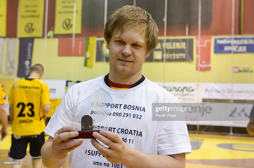Stas Skube with prize for the best player in Slovenian National cup season Team Celje won the National Cup for the 18th time in their history Team...