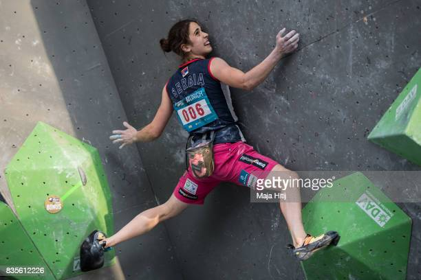 Stasa Gejo of Serbia competes during final at the IFSC Climbing World Cup Munich on August 19 2017 in Munich Germany