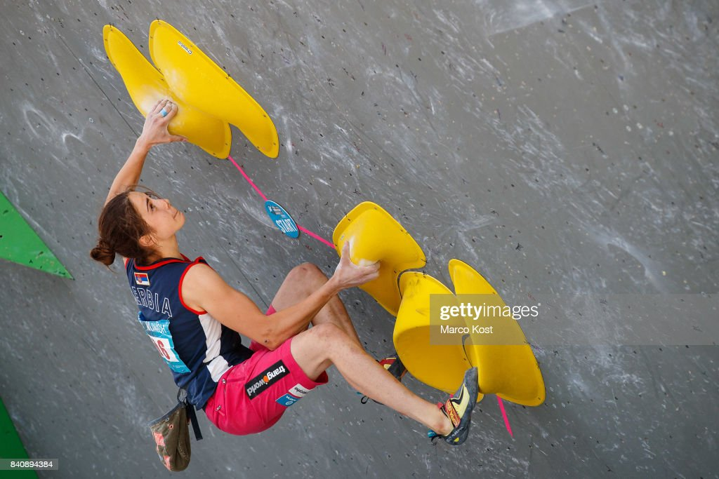 Stasa Gejo of Serbia competes during the finals of the IFSC Bouldering World Cup Munich on August 19, 2017 in Munich, Germany.