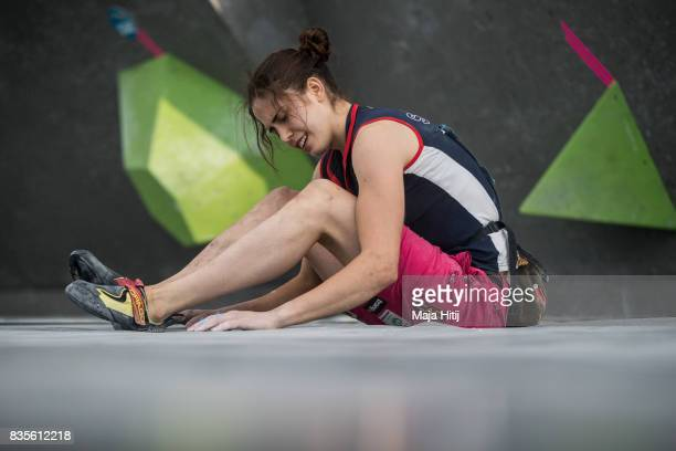 Stasa Gejo of Serbia reacts during final at the IFSC Climbing World Cup Munich on August 19 2017 in Munich Germany