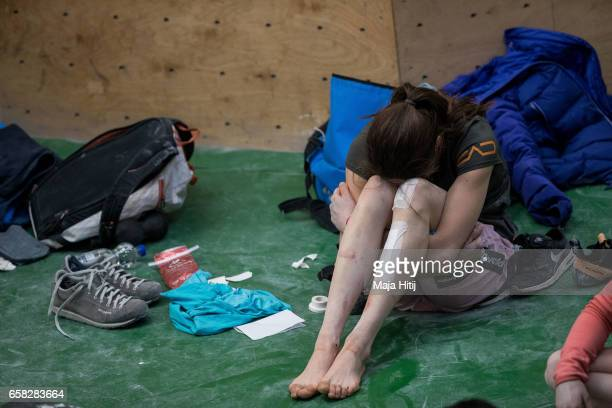 Stasa Gejo of Serbia reacts in isolation room during women finals of bouldering event Studio Bloc Masters 2017 on March 26 2017 in Pfungstadt Germany