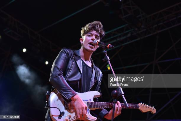 Stash Fiordispino of the Italian pop rock band The Kolors pictured on stage as he performs live at Napoli