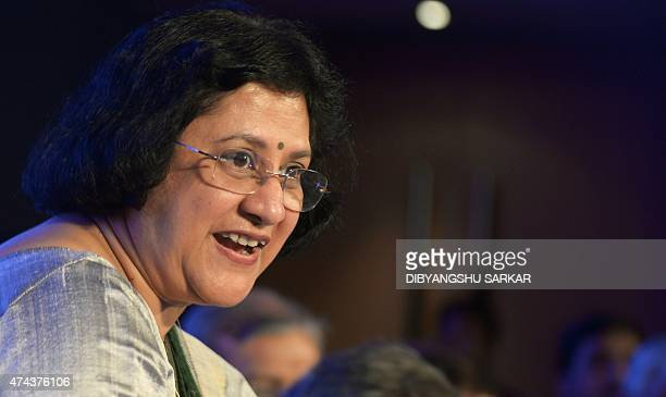 State Bank of India chairwoman Arundhati Bhattacharya announces the bank's financial results at a press conference in Kolkata on May 22 2015 SBI's...