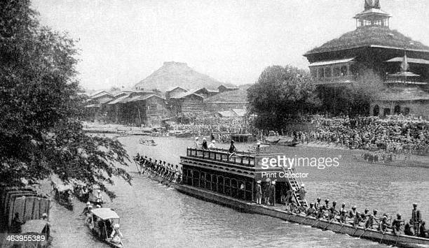 A state barge of a Maharaja Kashmir's royal capital India 1922 From Peoples of All Nations Their Life Today and the Story of Their Past volume IV...