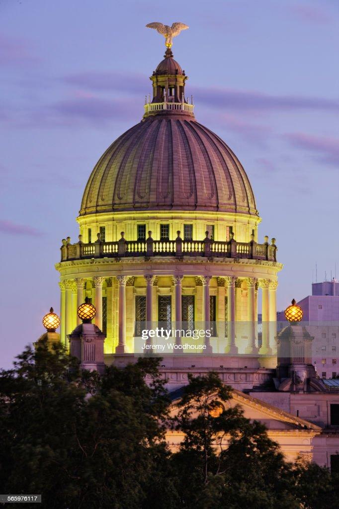 State Capitol dome illuminated at night, Jackson, Mississippi, United States
