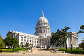 State Capitol of Wisconsin, Madison, USA. Wisconsin is a tributary of the Mississippi River in Wisconsin, a midwestern state in north central United States