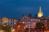 NJ state capitol complex at night in Trenton, New Jersey