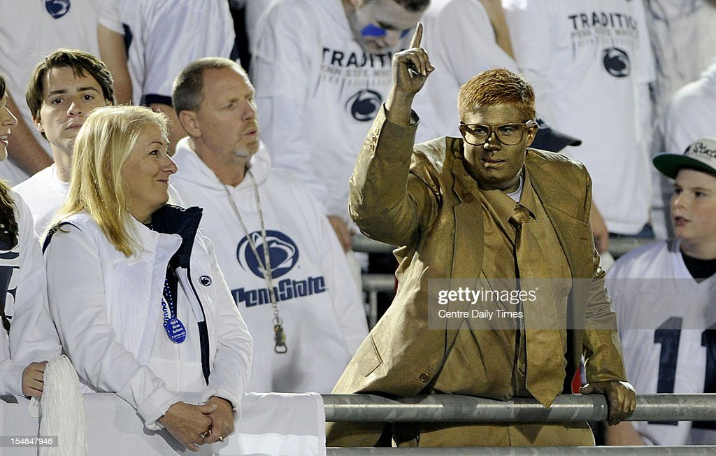 State College resident Nick Zepp dresses as the Joe Paterno statue for the game against Ohio State at Beaver Stadium in State College, Pennsylvania, Saturday, October 27, 2012. Ohio State defeated Penn State, 35-23.