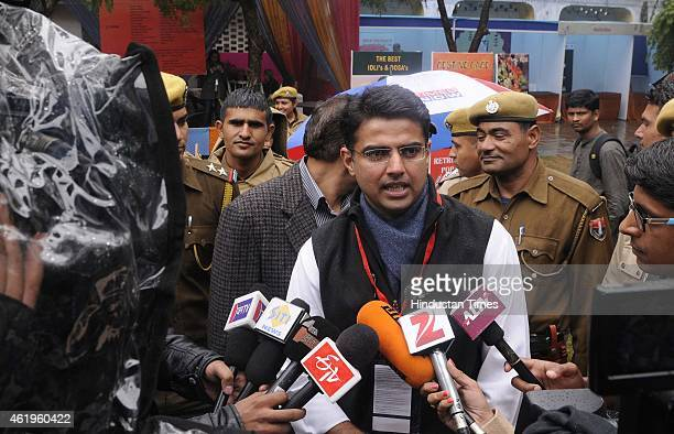 State Congress President Sachin Pilot attends the Jaipur Literature festival at Diggi Palace on January 22 2015 in Jaipur India One of the largest...