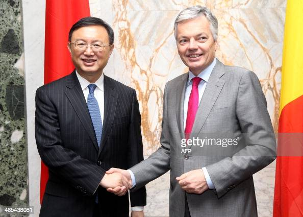 State Councilor of the People's Republic of China Yang Jiechi shakes hands with Belgian VicePrime Minister and Foreign Minister Didier Reynders...
