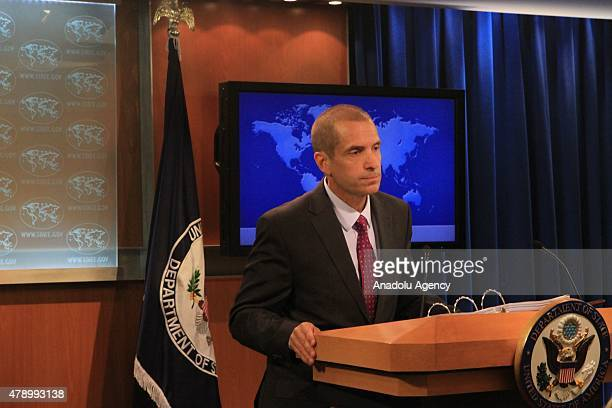 State Department spokesperson Mark Toner holds a press statement in Washington on June 29 2015