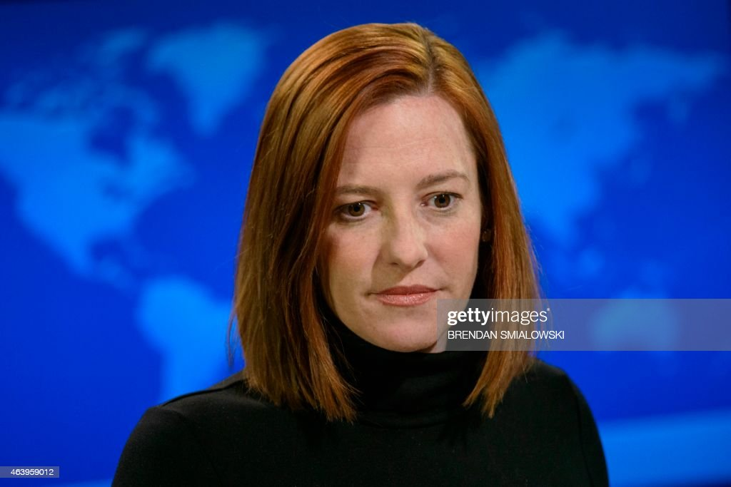 Us state department spokeswoman jen psaki delivers a daily briefing at