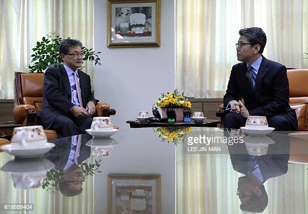 US State Department's Special Representative for North Korea Policy Joseph Yun talks with South Korea's Special Representative for Korean Peninsula...