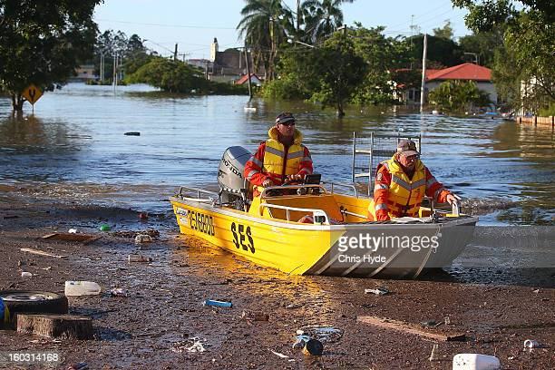 State Emergency Service patrol the streets on boat as parts of southern Queensland experiences record flooding in the wake of Tropical Cyclone Oswald...