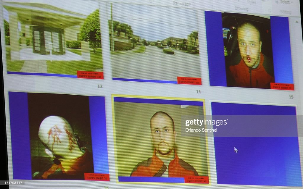 State evidence photos, including various photos of George Zimmerman on the night of the Trayvon Martin shooting, are projected in court during the 15th day of Zimmerman's trial in Seminole circuit court in Sanford, Florida, Friday, June 28, 2013. Zimmerman is accused in the fatal shooting of Trayvon Martin.