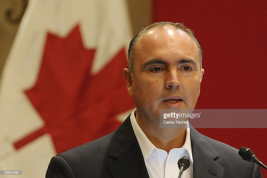 State Governor José Calzada Rovirosa speaks during the inauguration of the 2012 Tri-National Agricultural Agreement, which seeks to increase the commercialization of products between Canada, United States and Mexico, on October 03, 2012 in Jurica, Queretaro.