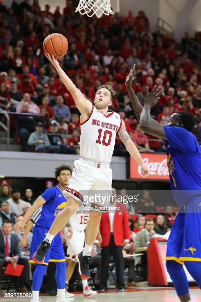 State guard Braxton Beverly makes the layup during the game between the North Carolina State Wolfpack and the UMKC Kangaroos on December 9 2017 at...