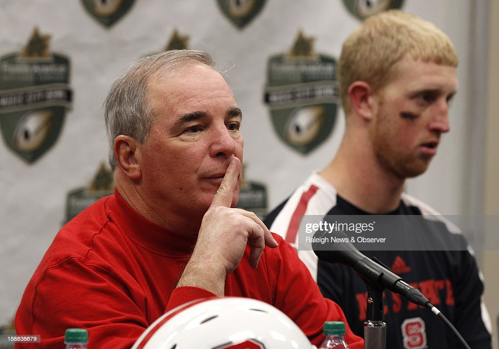 N.C. State interim head coach Dana Bible talks to the media during a press conference after the Wolfpack's 38-24 loss to Vanderbilt in the Franklin American Mortgage Music City Bowl at LP Field in Nashville, Tennessee, Monday, December 31, 2012.