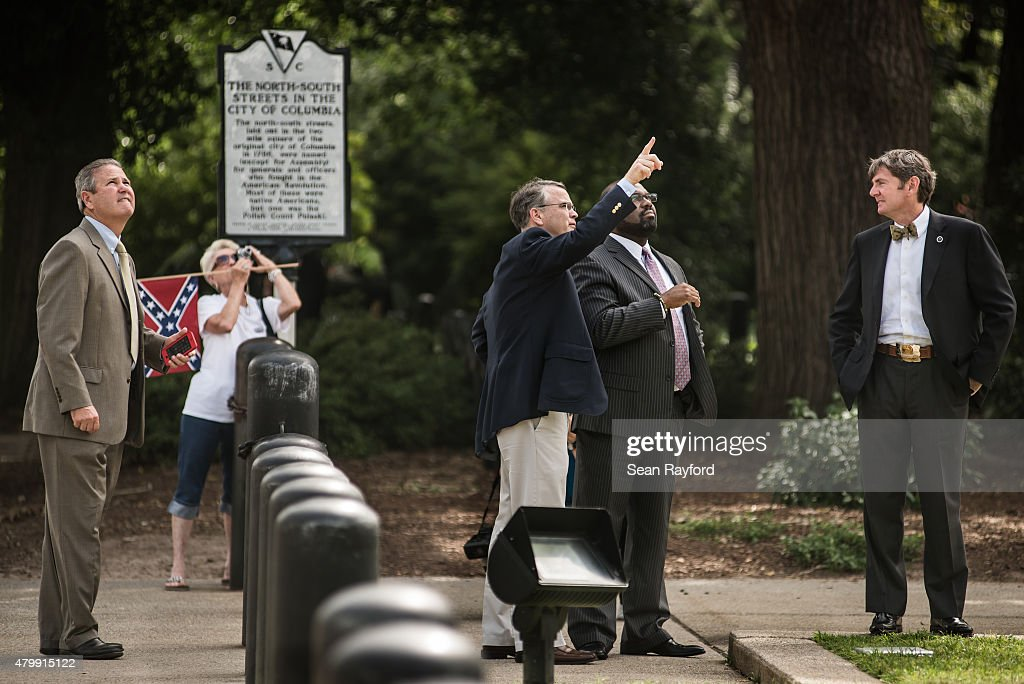State lawmakers talk about the Confederate battle flag at the South Carolina state house July 8 2015 in Columbia South Carolina South Carolina...