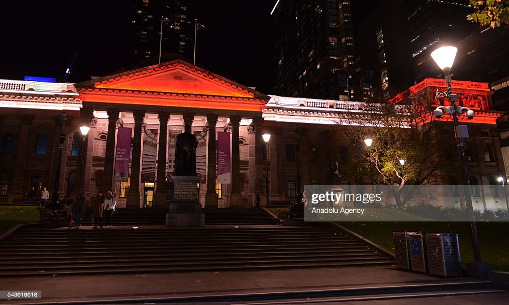 State Library of Victoria building lit up in the colours of the Turkish national flag after Australian Prime Minister Malcolm Turnbull and Australian Foreign Minister Julie Bishop's press conference on Istanbul Ataturk International Airport terror attacks, in Melbourne, Australia on June 29, 2016.