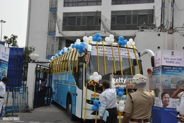 State Minister and Bangladesh official flag off IndiaBangladesh bus service at State Secretariat office Campuses Nabanna on April 08 2017 in Kolkata...