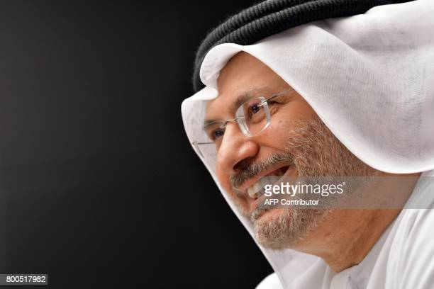UAE state minister for foreign affairs Anwar Gargash speaks during a press conference at his office in Dubai on June 24 2017 / AFP PHOTO / GIUSEPPE...