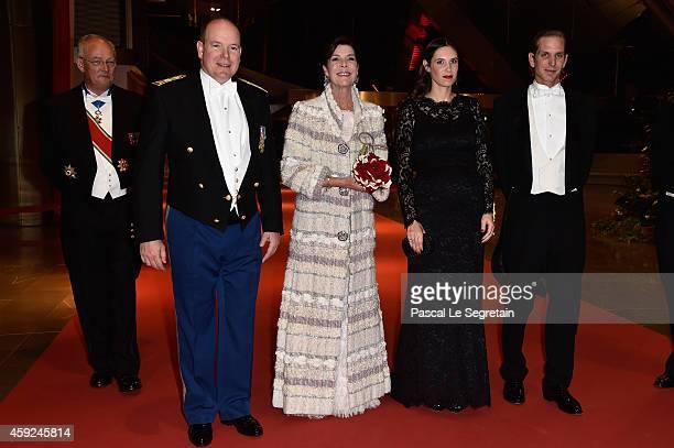 State Minister Michel Roger Prince Albert II of Monaco Princess Caroline of Hanover Tatiana Santo Domingo and Andrea Casiraghi attend the Monaco...