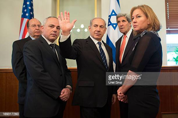 US State of Secretary John Kerry stands with Israeli Defence Minister Boogie Yaalon Minister of International Relations Yuval Steinitz Israeli Prime...