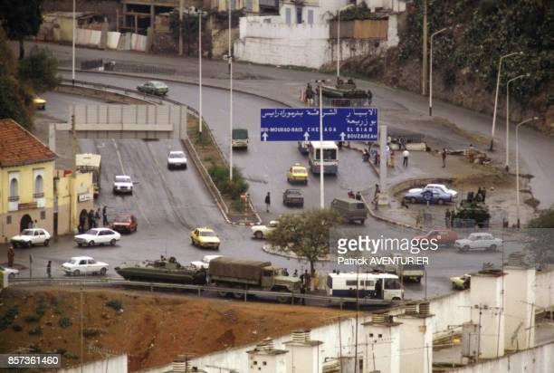 State of Siege with tanks and army in the streets in October 1988 in Algeria