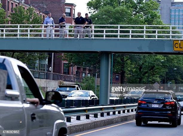 State Police investigating a fatal shooting on the Siber footbridge over Storrow Drive where a State Trooper killed a man with warrants and a knife...