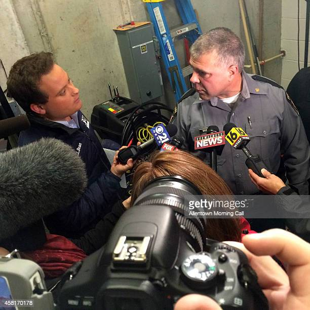 State police Lt Col George Bivens answers questions Thursday night Oct 30 2014 on the capture of Eric Frein now facing a murder charge in the Sept 12...