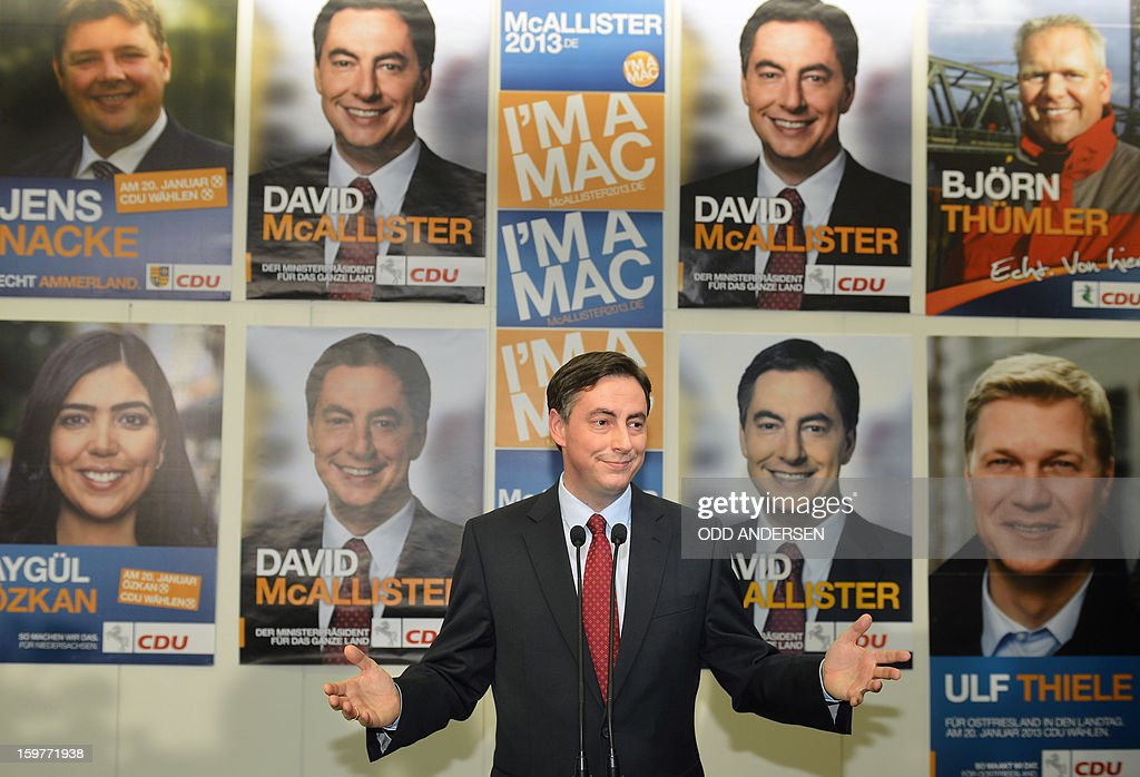 State premier of Lower Saxony David McAllister, addresses supporters at the CDU elections HQ at the Landtag regional parliament in Hanover on January 20, 2013 on polling day of the local elections in the central German state of Lower Saxony. The vote is largely seen as a test run for Chancellor Angela Merkel, her rivals and would-be heirs, eight months before nationwide polls. German Chancellor Angela Merkel's party was ahead after the first state poll in a general election year, exit polls indicated, but it was unclear whether its coalition would cling to power.