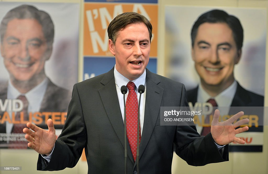 State premier of Lower Saxony David McAllister, addresses supporters at the CDU elections HQ at the Landtag regional parliament in Hanover on January 20, 2013 on polling day of the local elections in the central German state of Lower Saxony. The vote is largely seen as a test run for Chancellor Angela Merkel, her rivals and would-be heirs, eight months before nationwide polls. German Chancellor Angela Merkel's party was ahead after the first state poll in a general election year, exit polls indicated, but it was unclear whether its coalition would cling to power. AFP PHOTO / ODD ANDERSEN