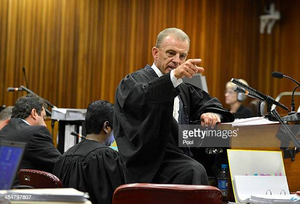 State prosecutor Gerrie Nel questions Oscar Pistorius during cross examination in the Pretoria High Court on April 14 in Pretoria South Africa Oscar...