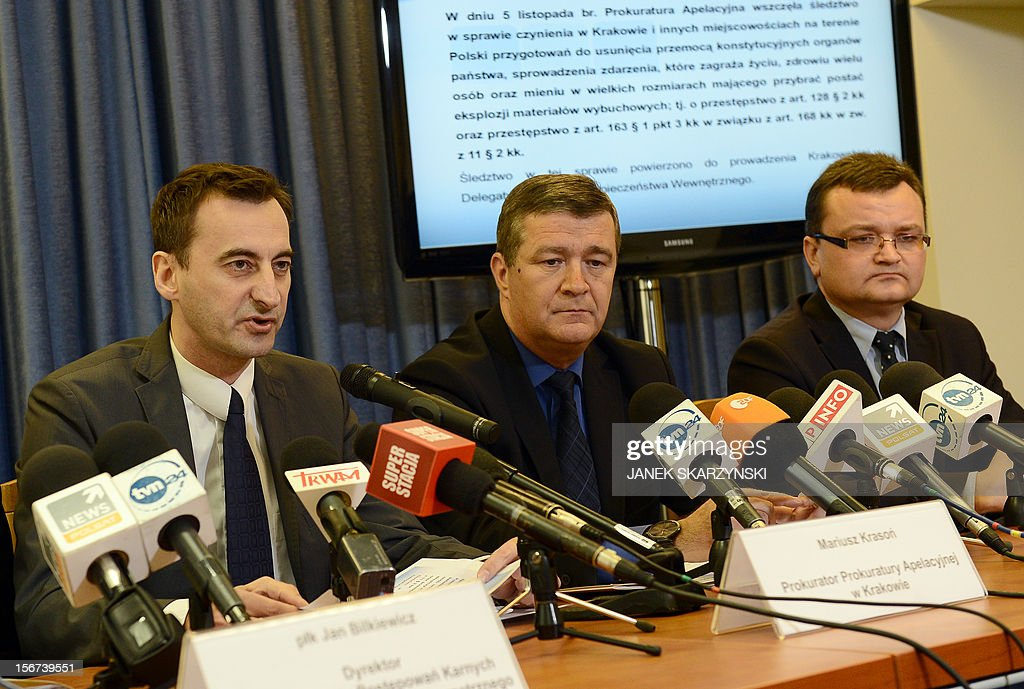 State prosecutors Mariusz Krason (L) and Artur Wona (C) hold a press conference about the detention of a man who had plotted a car bomb attack on country's parliament, prime minister and president in Warsaw on November 20, 2012. He is believed to have been motivated by nationalist, xenophobic anti-Semitic beliefs and was found to be in possession of TNT, gunpowder and other explosives.Poland's domestic security agency said Tuesday it had detained a man suspected of plotting a car bomb attack on the country's parliament, prime minister and president.
