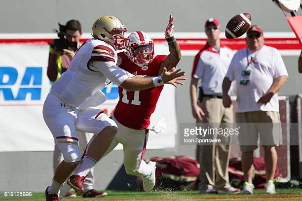 State safety Josh Jones successfully defends a pass intended for Boston College quarterback Patrick Towles during the first half between the Boston...