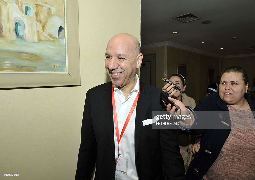 State Secretary at the Ministry of Foreign Affairs in charge of America and Asia and a member of the Political Bureau of the Congress Party for the Republic (CPR) Hedi Ben Abbes, arrives at the extraordinary National Council of his party to debate the ministerial reshuffle, on February 2, 2013, in Tunis.