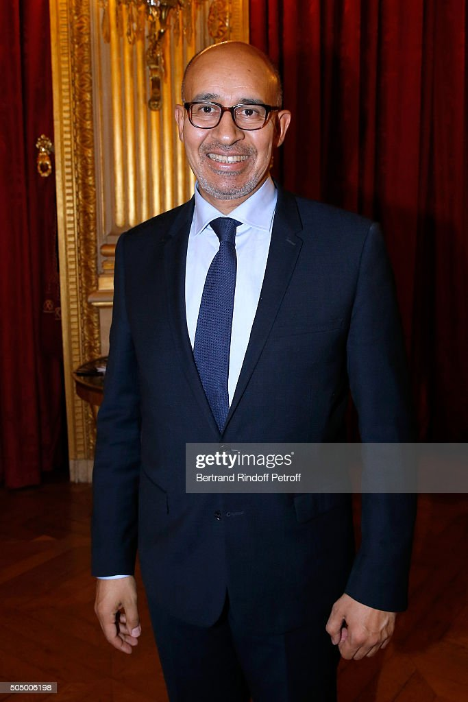 State Secretary for European Affairs, <a gi-track='captionPersonalityLinkClicked' href=/galleries/search?phrase=Harlem+Desir&family=editorial&specificpeople=766371 ng-click='$event.stopPropagation()'>Harlem Desir</a> attends French Minister of Foreign Affairs Laurent Fabius and Actress Isabelle Huppert launch 'Le Grand Tour' at Quai d'Orsay on January 14, 2016 in Paris, France.