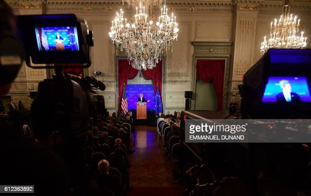 State Secretary John Kerry delivers a speech at The German Marshall Fund in Brussels on October 4 2016 Kerry is in Brussels to attend a Conference on...