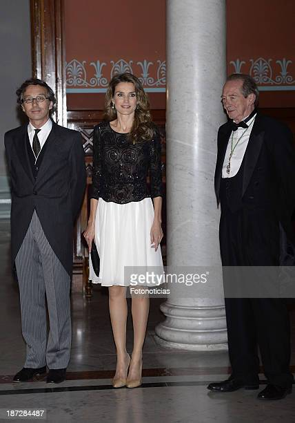 State Secretary of Culture Jose Maria Lasalle Princess Letizia of Spain and the Director of The Royal Academy of Language Jose Manuel Blecua attend...