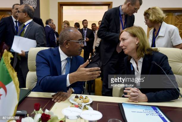 State Secretary of the German Interior Ministry Emily Haber speaks with Algerian Interior Minister Noureddine Bedoui at the opening meeting on...