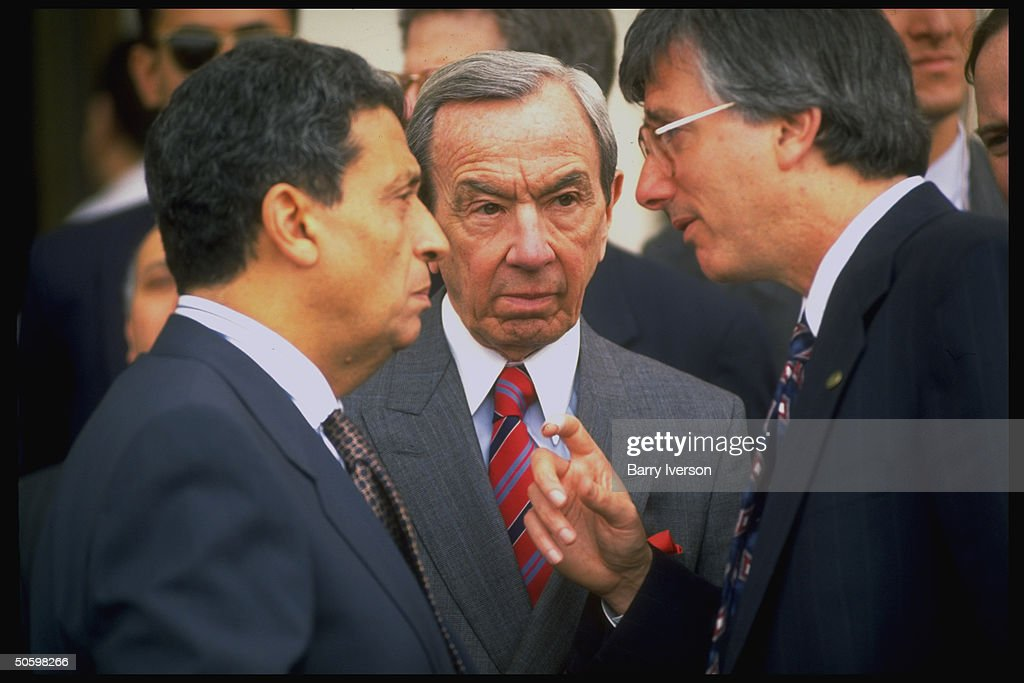 US State Secy. Christopher (C) conferring w. State Dept.'s Dennis Ross (R) & Egyptian For. Min. Amr Moussa during mtgs. re advancing Israel/PLO peace process.