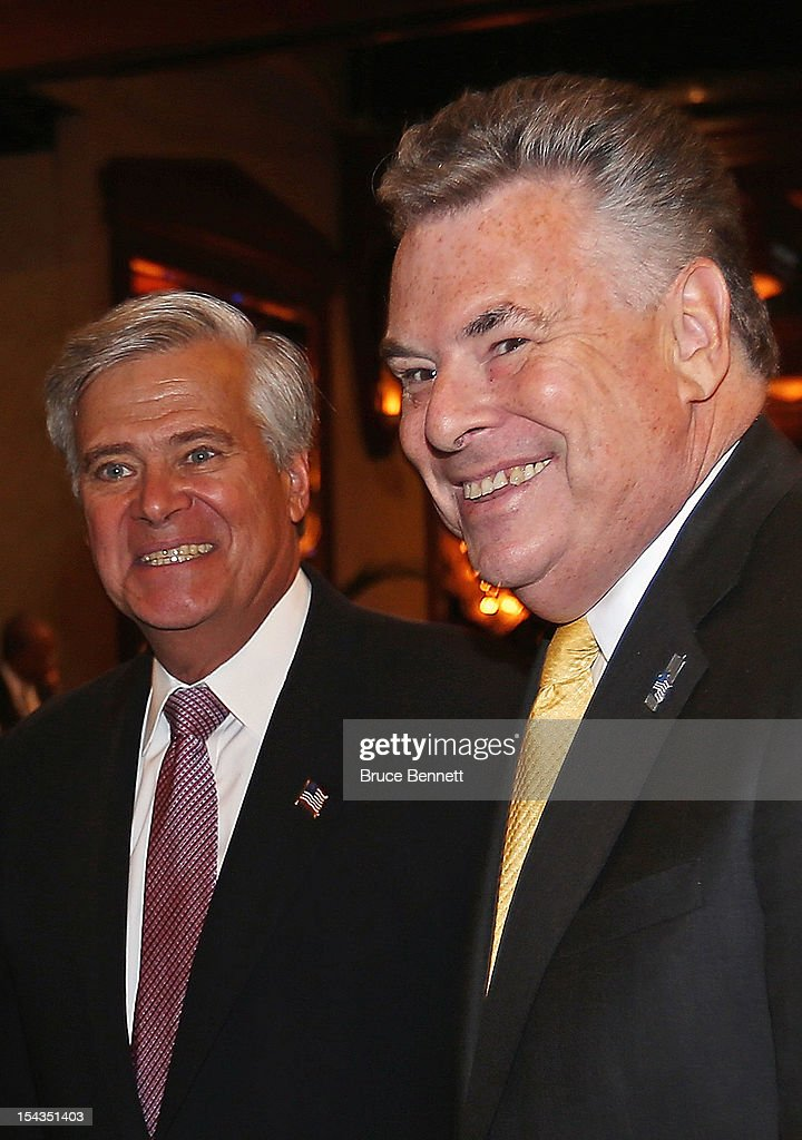 State Sen. Dean Skelos (R-NY) and U.S. Rep. Peter T. King (R-NY) attend an appearance by former Vice President Dick Cheney at the Long Island Association fall luncheon at the Crest Hollow Country Club on October 18, 2012 in Woodbury, New York. Cheney discussed foreign and domestic issues, including the upcoming presidential election, at the business organization's luncheon.