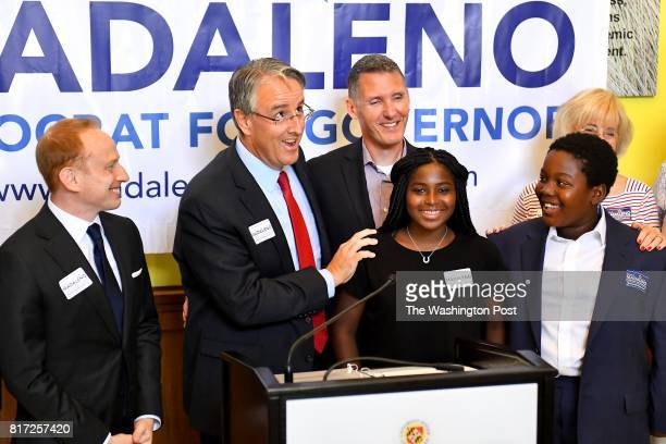 State Sen Richard Madaleno second from left accidentally introduced his 'daughters' instead of saying 'children' Katie and Jackson along with his...
