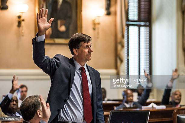 State Sen Vincent Sheehen and fellow lawmakers complete the final votes in the Senate on the removal of the Confederate flag from the capitol grounds...