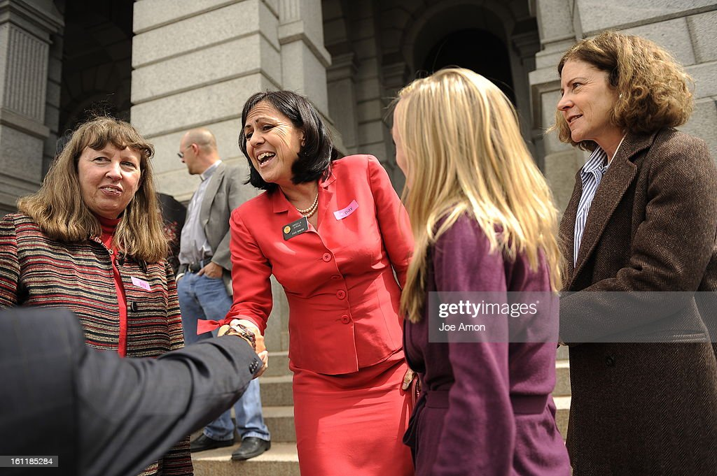 State Senator Angela Giron during the Annual Equal Pay Day Rally at the Capitol with pay equity advocates businesspeople and legislators on the west...