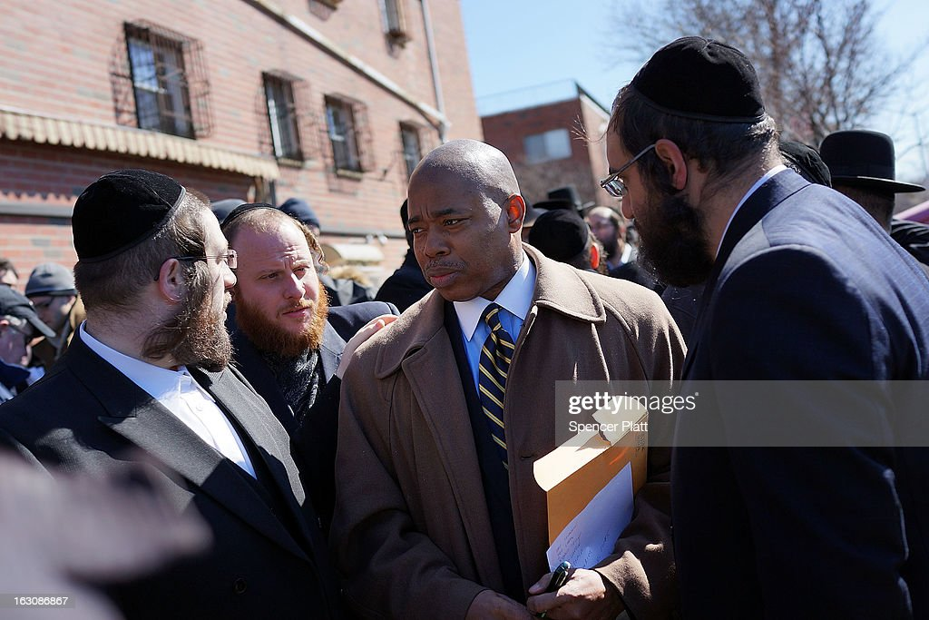 State Senator Eric Adams attends a news conference with members of the Brooklyn Orthodox Jew ish community to discuss the recent deaths of a Orthodox couple and their unborn child in a hit and run crash in the Brooklyn borough on March 4, 2013 in New York City. The couple, Nachman and Raizy Glauber, were on the way to the hospital to deliver their baby early Sunday morning when the livery cab they were in was hit by a BMW going at a high rate of speed. Doctors managed to temporarily save the Glauber's baby boy through a cesarean section, but the 21 year-old couple died early Sunday. The baby died shortly after on Monday at Bellevue Hospital. New York City police are searching for the driver and a passenger of the BMW who left the scene of the accident..