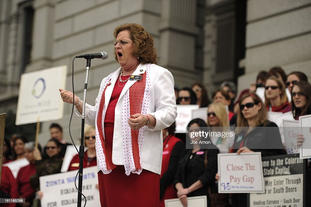 State Senator Evie Hudak speaks during the Annual Equal Pay Day Rally at the Capitol with pay equity advocates businesspeople and legislators on the...